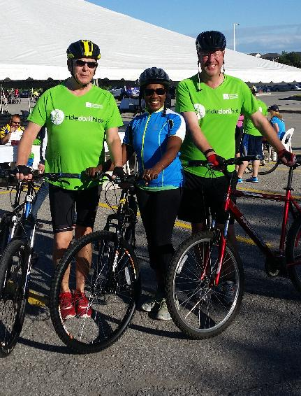 Gary Lockwood, Pauline De Leon-Hutson and Dan Coldwell about to take on the 60km bike ride