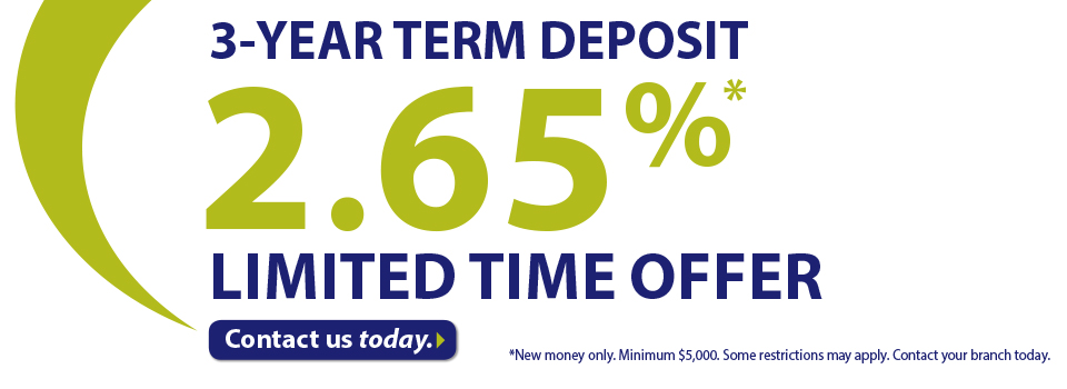 3 year Term Deposit at 2.65%